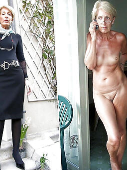 interesting mature lady dressed together with undressed mating pics