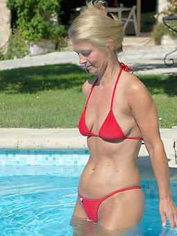 hot aged lady bikini buttering-up